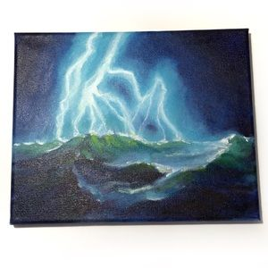 Original painting lighting seascape from artist